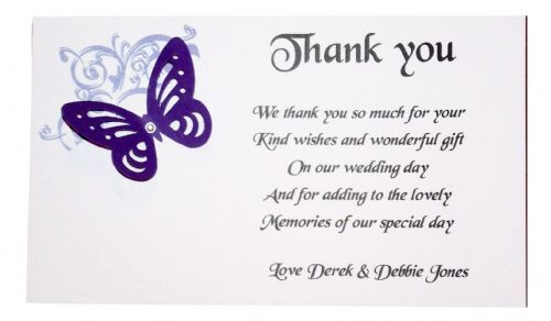 Thank You Gift Cards Wedding Personalised Corner design with butterfly various colours x 10